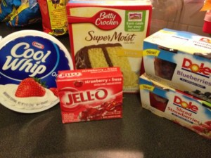 Flag Cake Recipe - Made with box cake mix, Cool Whip and fruit. An cheap and easy dessert.