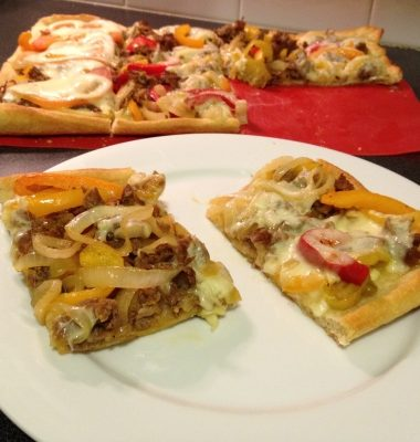 Meals on a Budget: Cheesesteak Pizza