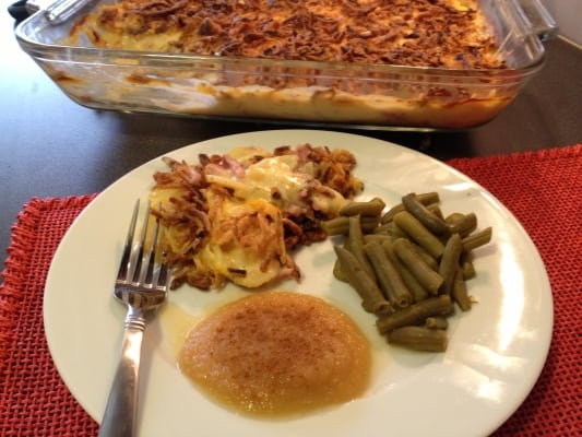 Scalloped Potatoes with Ham Recipe - Boxed potatoes, ham and onions make this super easy.