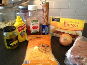Bacon Cheeseburger Pizza Recipe - Ketchup and mustard instead of pizza sauce is the key.