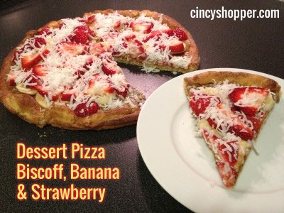 Biscoff Banana Strawberry Pizza Recipe - Cinnamon sugar on the crust, Biscoff for sauce, bananas and strawberries for toppings and Shredded Coconut as our cheese.