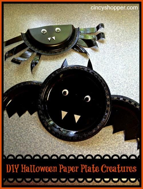 Dollar Store DIY Paper Plate Halloween Creatures