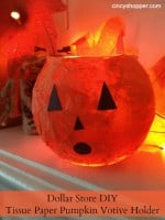 Dollar Store DIY: Tissue Paper Pumpkin Votive Holder