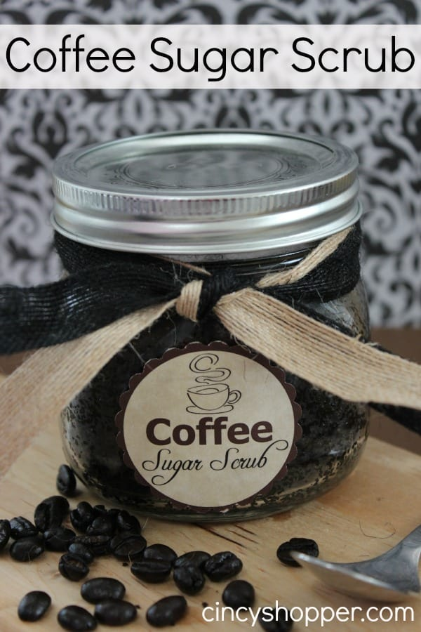 DIY Coffee Sugar Scrub Jar Gift with FREE Printable Label. An easy homemade scrub that is perfect for gift giving. Plus it's inexpensive!