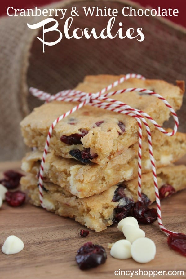 Cranberry & White Chocolate Blondies - perfect fall and winter dessert .