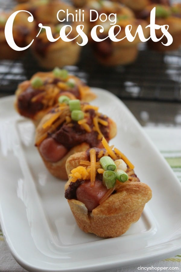 Chili Dog Crescents - Perfect appetizer for parties or game day. So easy since we use store bought crescent rolls