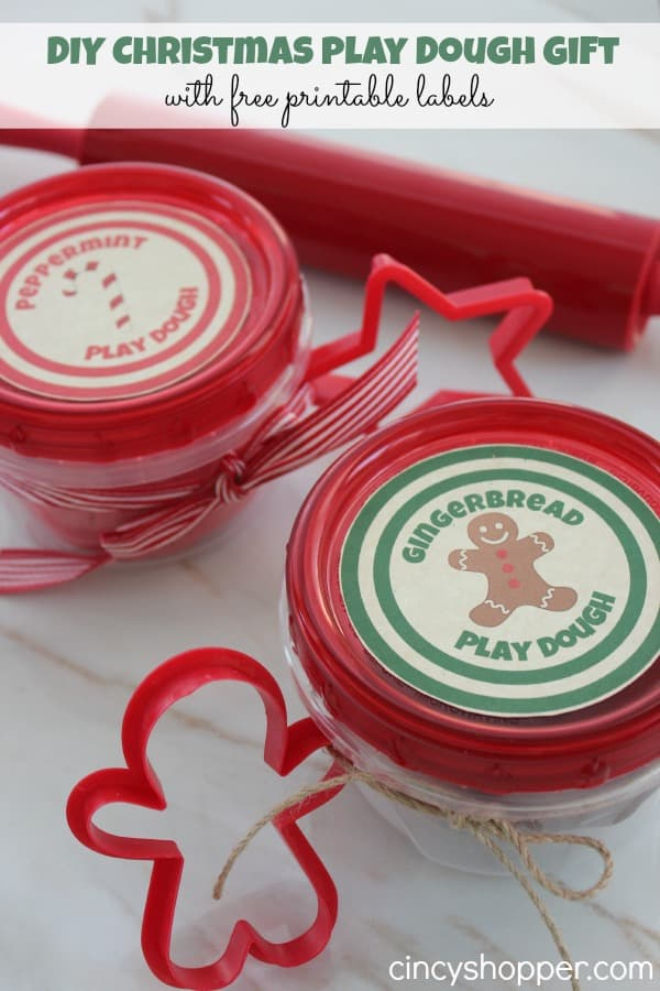 DIY Christmas Play Dough - Inexpensive gift for kids. Peppermint and Gingerbread Play Dough. Place in inexpensive disposable dishes, add a ribbon and cookie cutter plus Printable label.