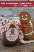 DIY Gingerbread Scrub in a Jar Gift FREE Printable Label