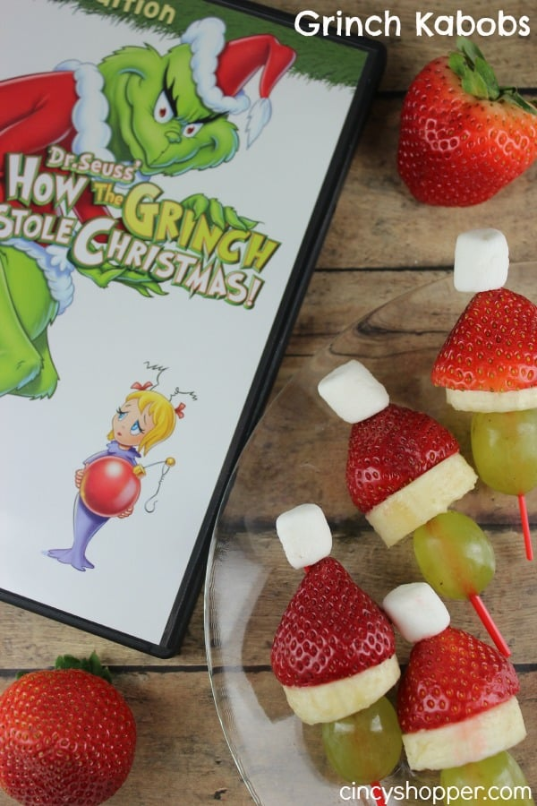 Grinch Kabobs- Fun Treat this holiday season. Enjoy a healthy snack while having a Dr Seuss' How the Grinch Stole Christmas Family night!