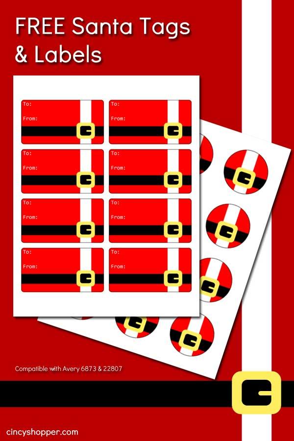 FREE Printable Santa Christmas Tags and Labels - CincyShopper