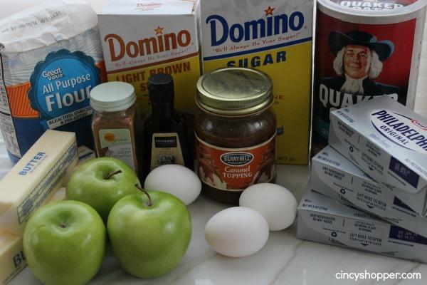Ingredients to make Caramel Apple Cheesecake Bars.