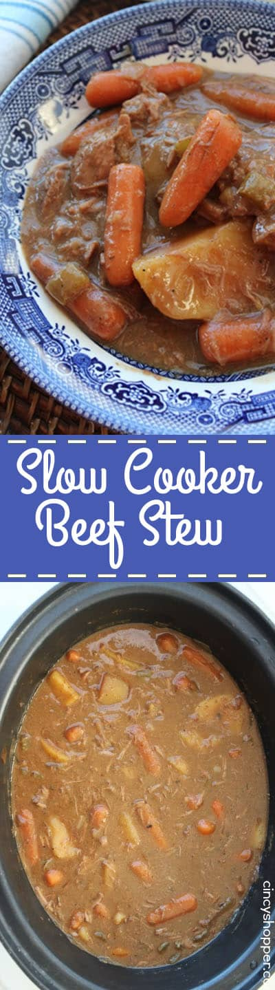 Beef Stew in a bowl and a Slow Cooker.