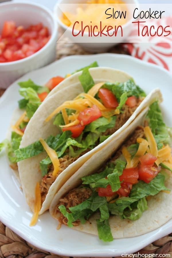 Slow Cooker Chicken Tacos - easy weeknight dinner idea. Loads of flavor.