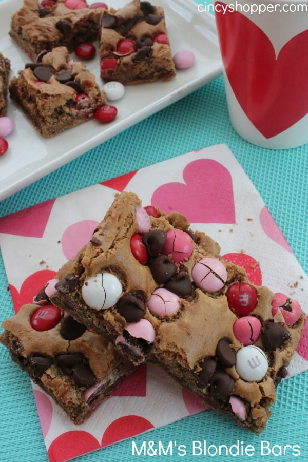 Valentine Blondie Bars- Loaded with Chocolate Chips and Valentine colored M&M's perfect for Valentine dessert!