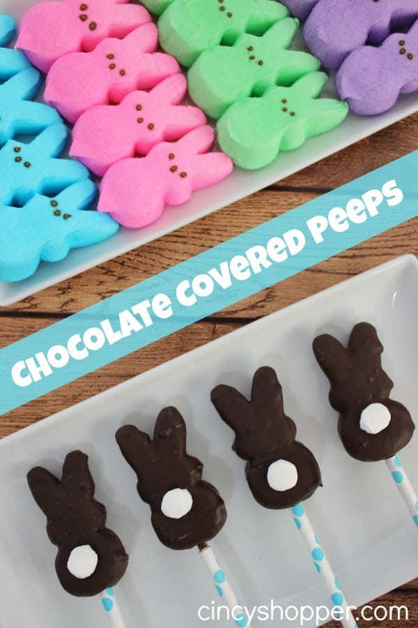 Chocolate Covered Peeps! Simple to make at home. Great for Easter Baskets. Wrap in plastic bag and tie a bow!