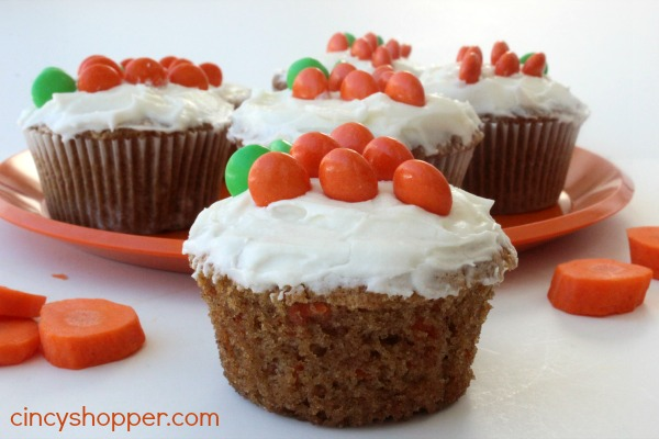Carrot Cake Cupcakes with Cream Cheese Frosting Recipe- Great dessert idea for Easter. Less fuss than a traditional cake.