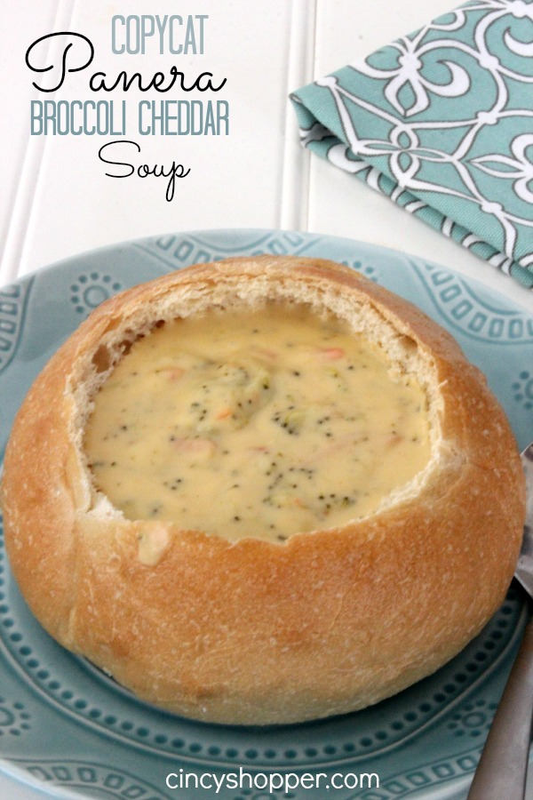 CopyCat Panera Broccoli Cheddar Soup Recipe. YUM! Pair this yummy soup with a salad for lunch or dinner. Save $$'s and make your favorites at home!