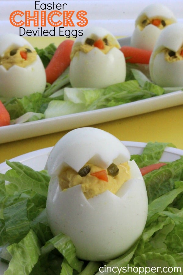 These Easter Chicks Deviled Eggs are so simple to make and look so darn cute! Whip them up quite quickly for your Easter dinner side dish or appetizer. #Easter