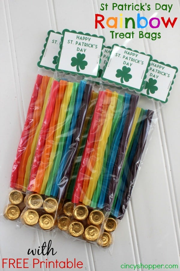 St Patrick's Day Rainbow Treat Bags with FREE Printable
