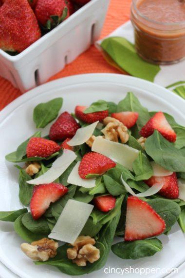 Strawberry and Walnut Salad with Strawberry Vinaigrette Dressing