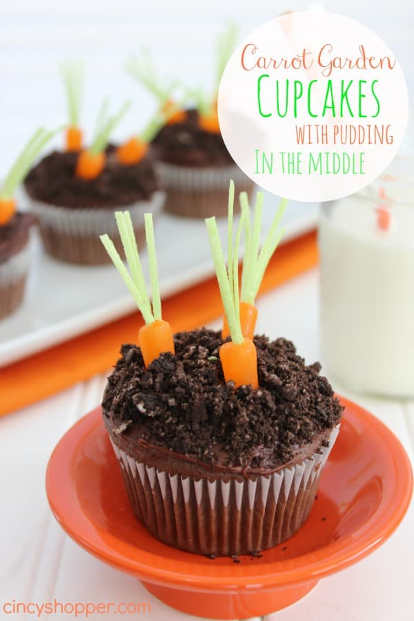 Easter Carrot Garden Cupcakes with pudding in the middle. Super easy cupcake using a cake mix and boxed pudding. Add in a few extras and you have a super adorable Easter cupcake.