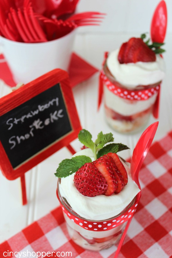 Strawberry Shortcake in a Jar - Super simple individual dessert idea. Great for picnics and potlucks.
