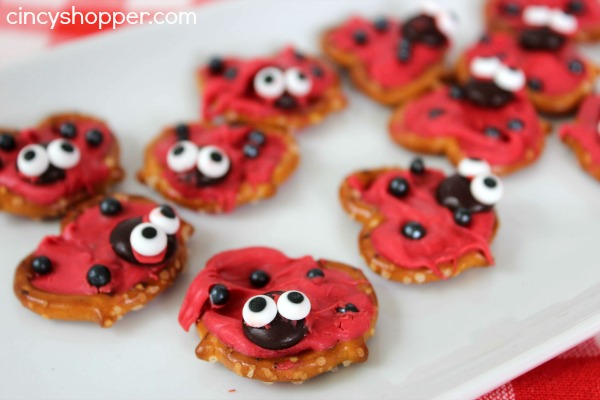 Lady Bug Pretzel Treats
