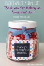 "Quick & Easy Teacher Appreciation Gift: Thank You for Making us ""Smarties"" Jar! FREE Printable"