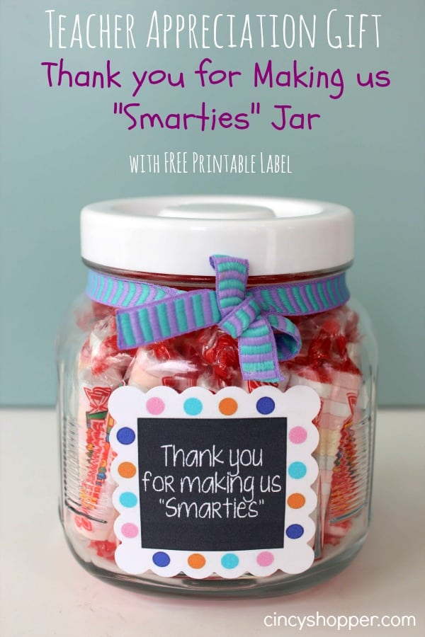 Teacher Appreciation Gift Smarties Jar