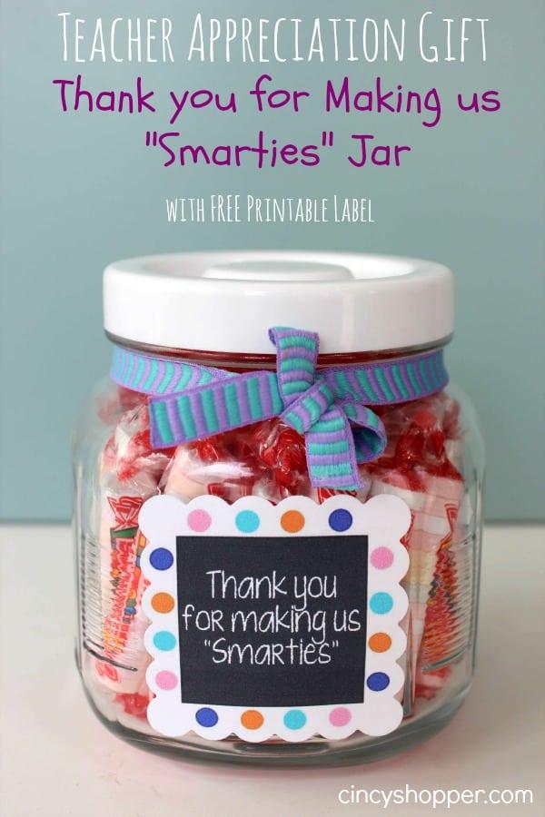 Teacher Appreciation Gift Smarties Jar