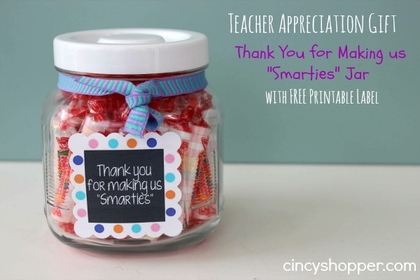 Teacher Appreciation Smarties Gift Jar