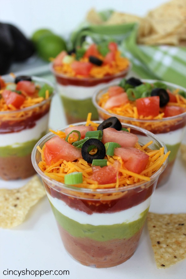 7 Layer Dip Cup- Perfect for feeding a crowd! So Super simple and everyone loves them.