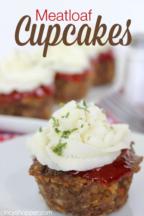 Meatloaf Cupcakes -Super fun twist on traditional meatloaf. Serve these mashed potato topped meatloaves for family dinner or great for a crowd.