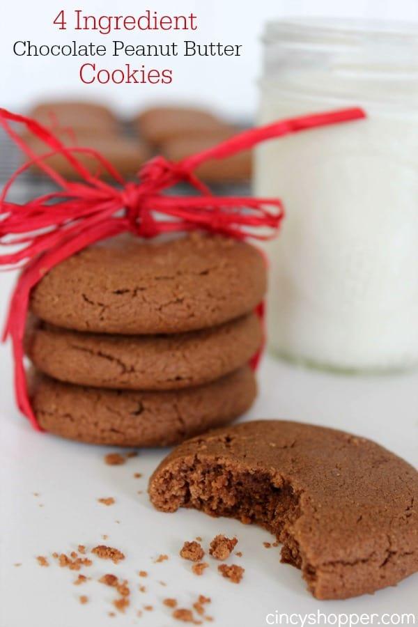 4 Ingredient Chocolate Peanut Butter Cookies Recipe