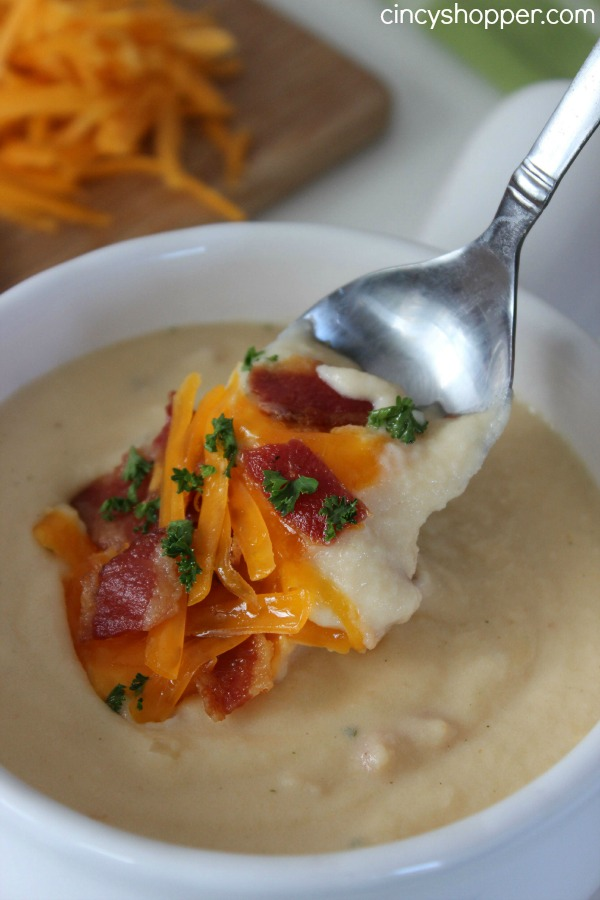 Loaded Instant Potato Soup. Yes... this recipe uses instant potatoes. Do not be alarmed as this soup Super delish! Super Easy and Super Inexpensive.