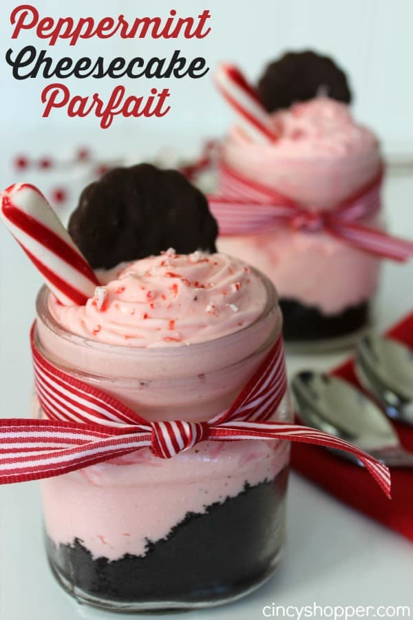 Peppermint Cheesecake Parfait Recipe- A Perfect No Bake Holiday Dessert that looks and tastes so decadent! Super Easy!
