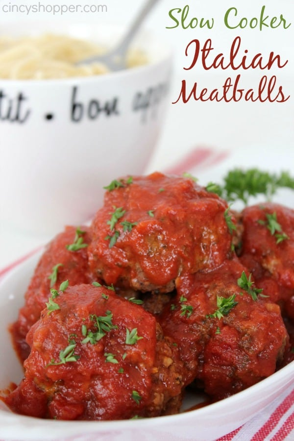 Slow Cooker Italian Meatballs Recipe- Incredible and tasty meatball that is perfect for pasta dishes, appetizers or subs.