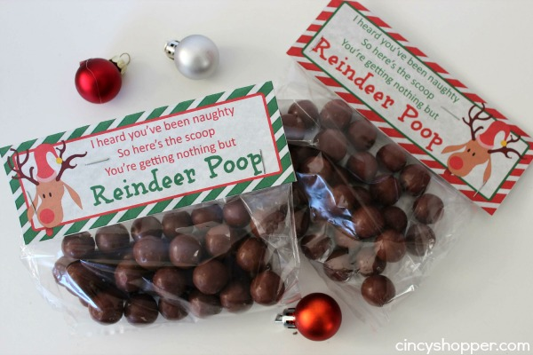 Reindeer Poop Gift Idea with Printable Toppers- A super fun and inexpenisve gift or favor for the holiday!
