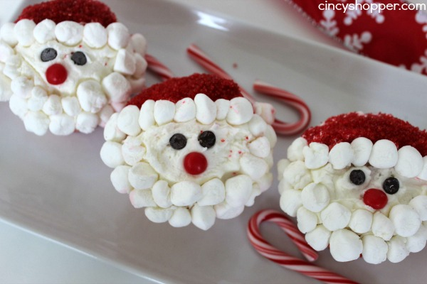 Santa Cupcakes Recipe- Super simple, cute and quick for serving up for the holidays. You can allow the kiddos help decorate.