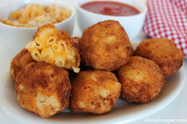 "Fried Mac & Cheese- Kiddo and adult friendly appetizer. Serve these ""bombs"" with some marinara and you will please the whole crowd. Great for using up the leftover macaroni and cheese!"