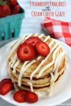 Strawberry Pancakes with Cream Cheese Glaze