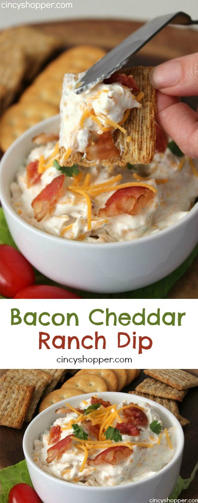 Bacon Cheddar Ranch Dip- Super Simple. Serve with Chips, Crackers or Vegetables. Always a crowd favorite.