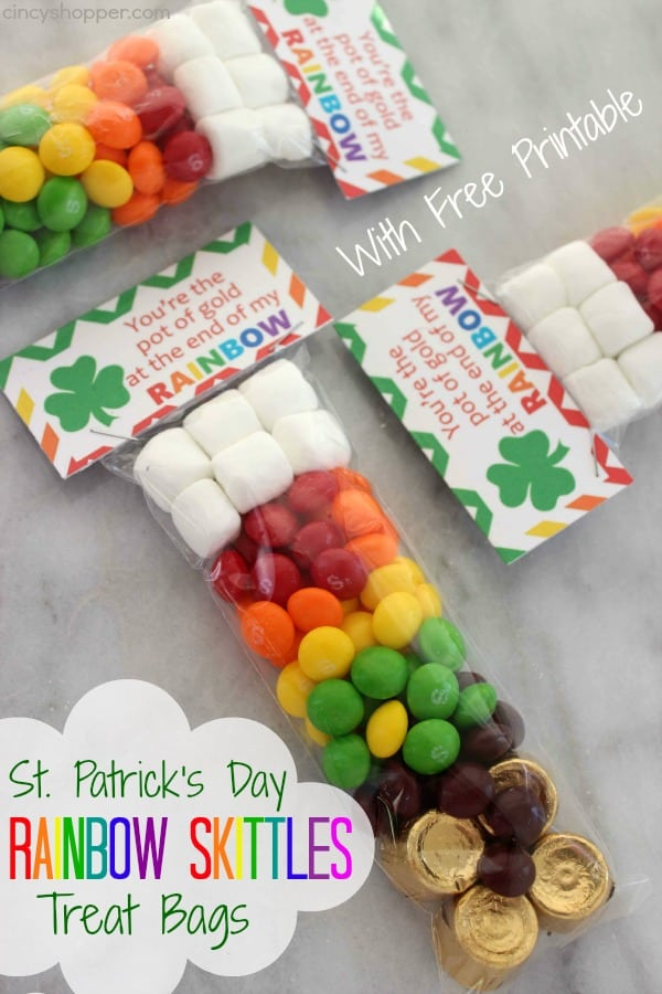 St. Patrick's Day Rainbow Skittles Treat Bags