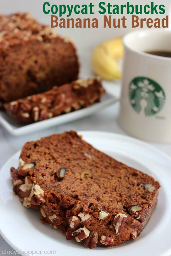 CopyCat Starbucks Banana Nut Bread Recipe- Save $$'s and enjoy your favorite Starbucks bread at home. This copycat recipe includes nuts and a hint of cinnamon flavor... just like Starbucks!