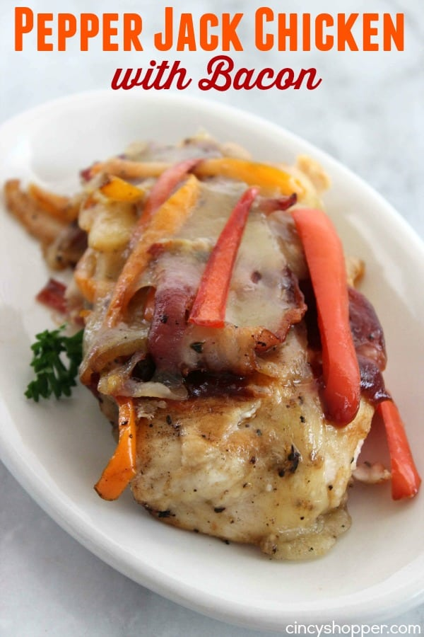 Pepper Jack Chicken with Bacon- Kick up your chicken breast loaded with peppers, onions, BBQ sauce, pepper jack cheese and BACON!