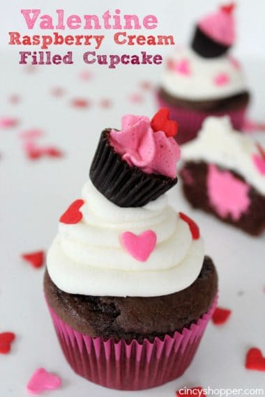 Valentine Raspberry Cream Filled Cupcake with a Cupcake