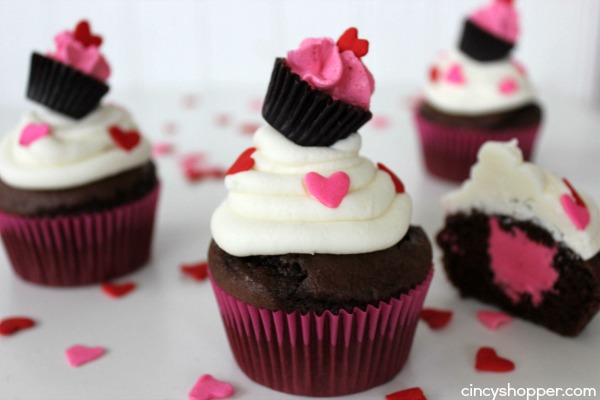 Valentine Raspberry Cream Filled Cupcakes with a Cupcake Topper- Super easy, cute and perfect to serve up for a classroom or office party.
