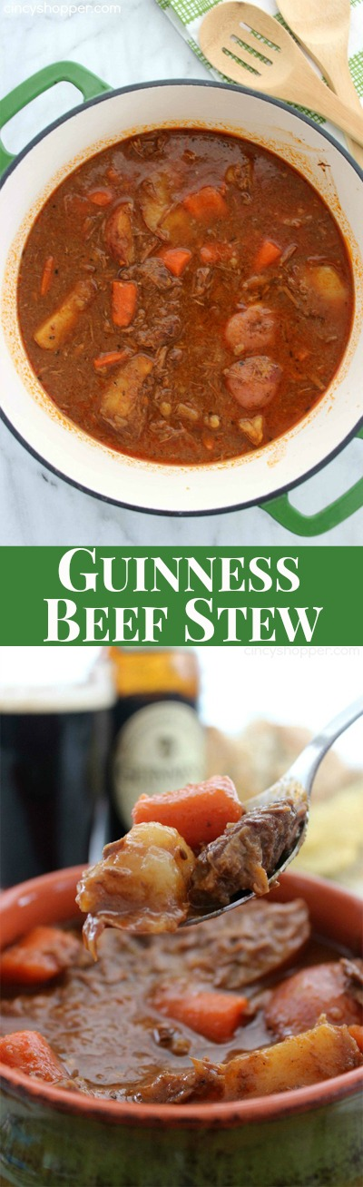 Guinness Beef Stew- Hearty Stew with a hint of Guinness flavor. The flavors are AMAZING! Perfect for St. Patrick's Day!