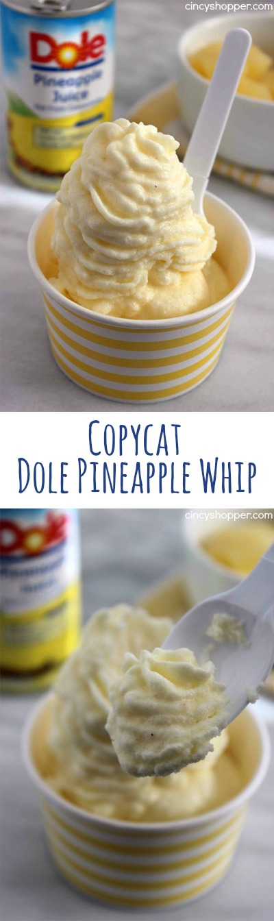 CopyCat Dole Pineapple Whip- No Disney trip is needed to enjoy a dish of this yummy pineapple flavored non-dairy frozen treat. Just a few ingredients are needed.