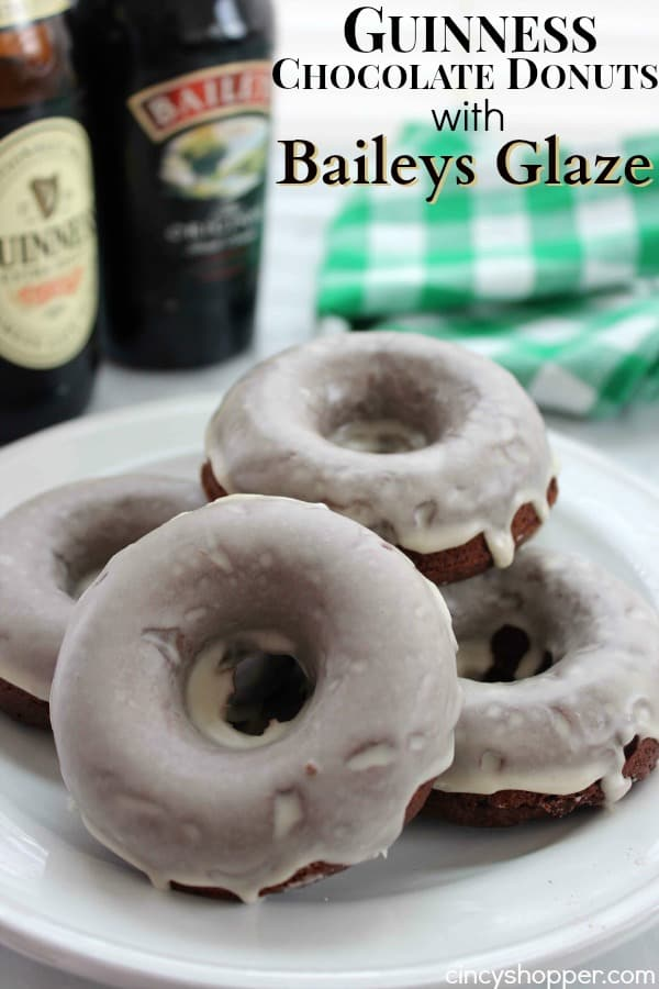 Guinness Chocolate Donut with Baileys Glaze- Perfect donut to start your St. Patrick's Day celebrations! The Guiness in the batter really brings out the flavor of the chocolate in the donut. The Baileys glaze is an amazing touch.